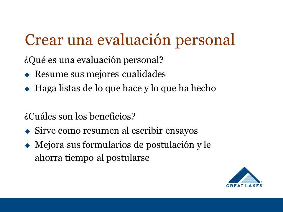 Crear una evaluación personal ¿Qué es una evaluación personal.