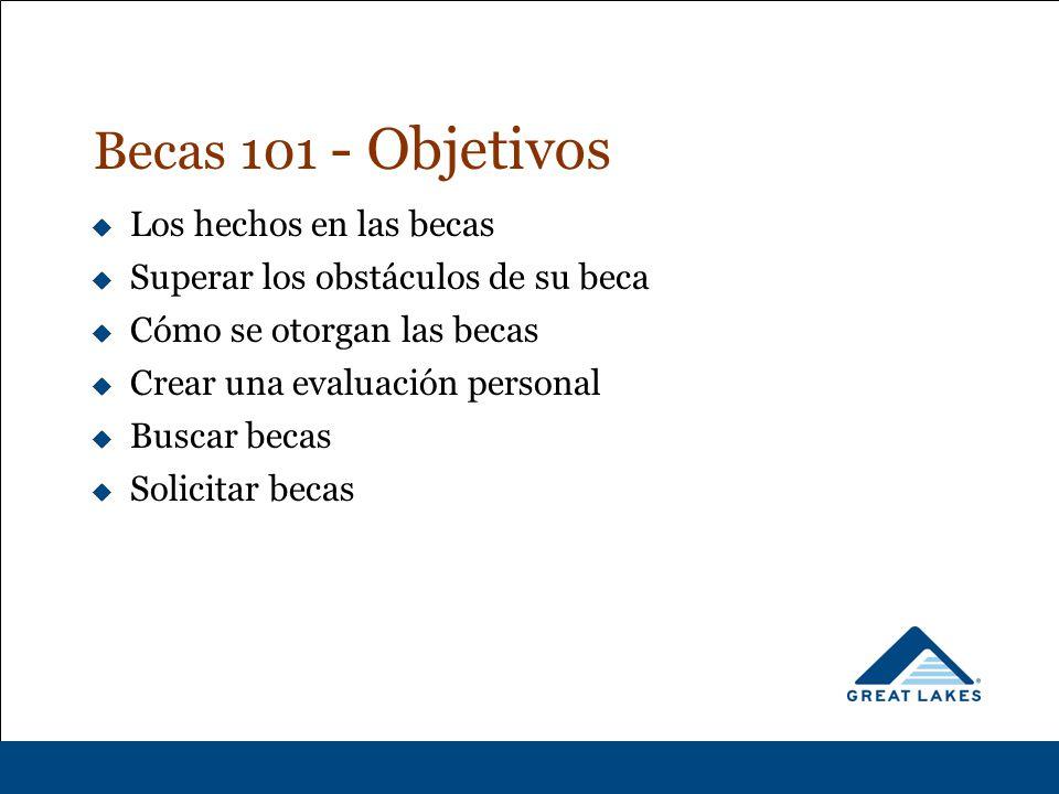 Becas 101 - Objetivos  Los hechos en las becas  Superar los obstáculos de su beca  Cómo se otorgan las becas  Crear una evaluación personal  Buscar becas  Solicitar becas