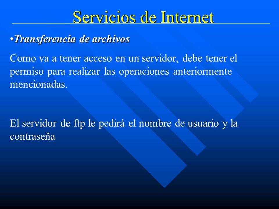 Servicios de Internet Transferencia de archivosTransferencia de archivos Como va a tener acceso en un servidor, debe tener el permiso para realizar las operaciones anteriormente mencionadas.