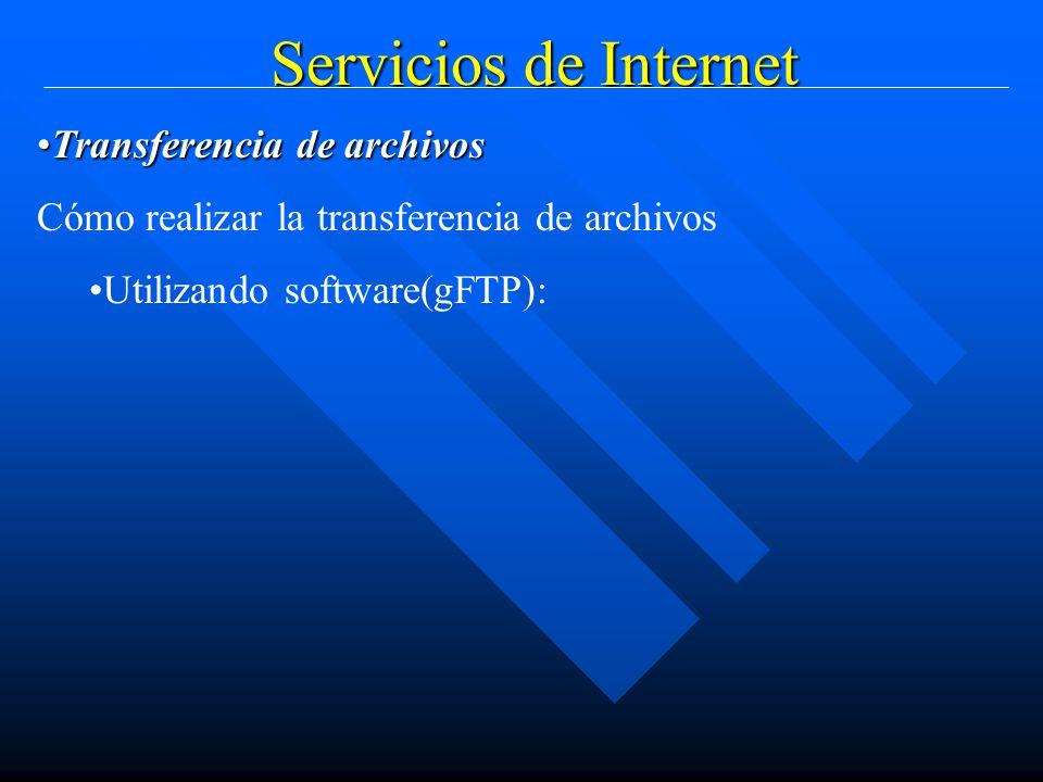 Servicios de Internet Transferencia de archivosTransferencia de archivos Cómo realizar la transferencia de archivos Utilizando software(gFTP):