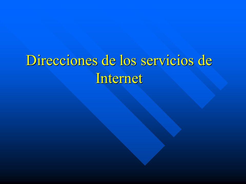 Direcciones de los servicios de Internet
