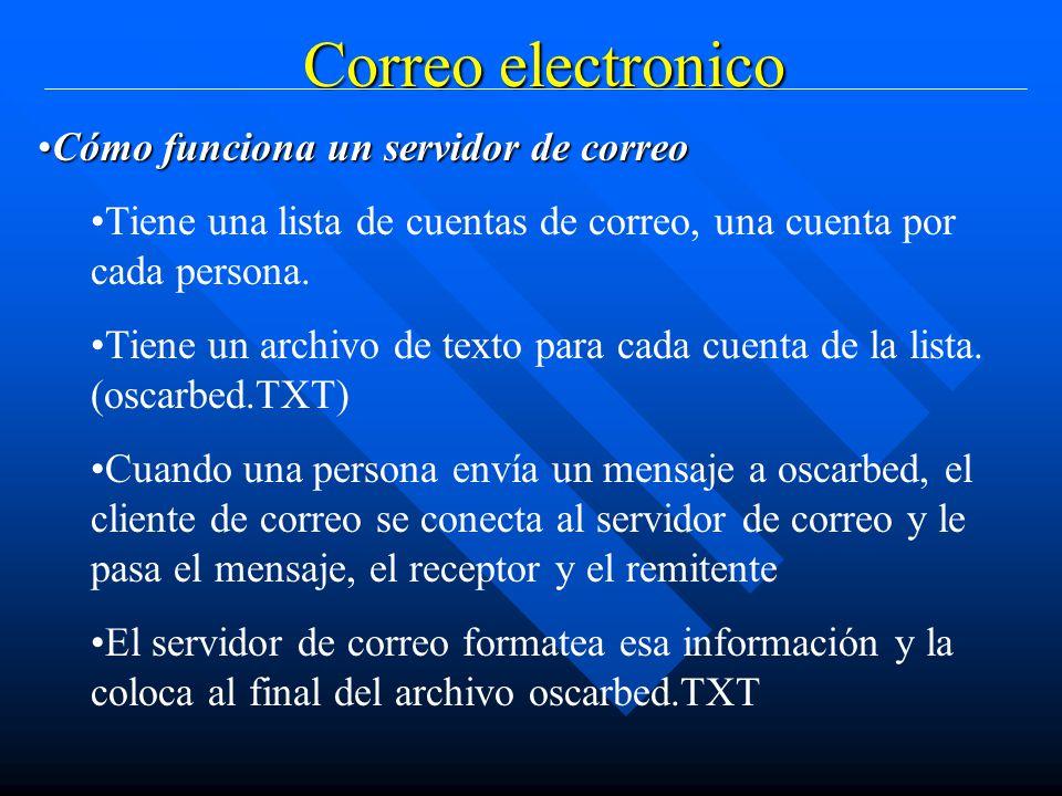 Correo electronico Cómo funciona un servidor de correoCómo funciona un servidor de correo Tiene una lista de cuentas de correo, una cuenta por cada persona.