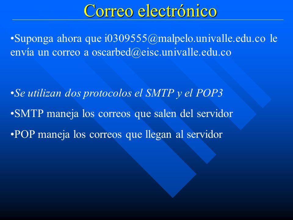 Correo electrónico Suponga ahora que i0309555@malpelo.univalle.edu.co le envía un correo a oscarbed@eisc.univalle.edu.co Se utilizan dos protocolos el SMTP y el POP3 SMTP maneja los correos que salen del servidor POP maneja los correos que llegan al servidor