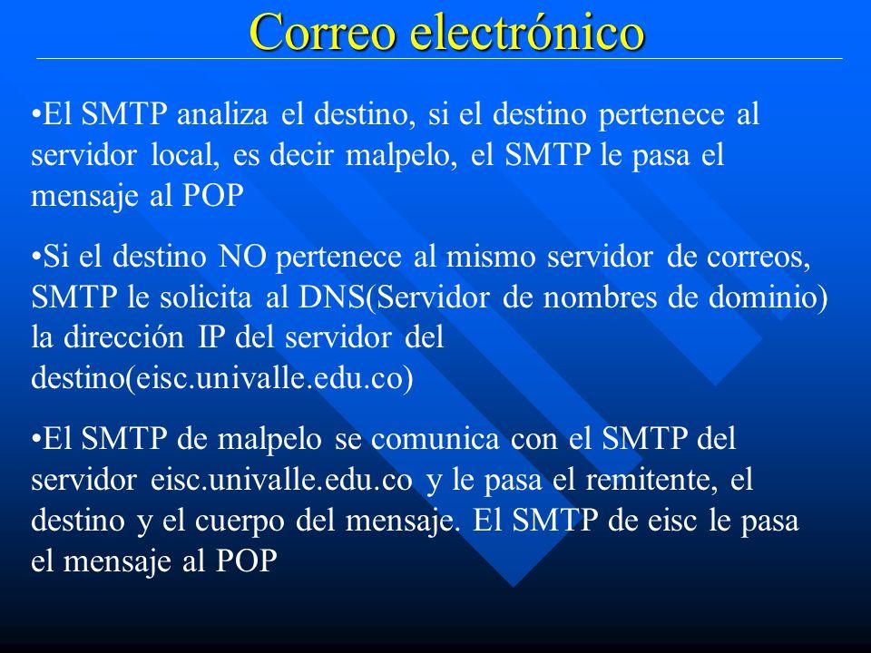 Correo electrónico El SMTP analiza el destino, si el destino pertenece al servidor local, es decir malpelo, el SMTP le pasa el mensaje al POP Si el destino NO pertenece al mismo servidor de correos, SMTP le solicita al DNS(Servidor de nombres de dominio) la dirección IP del servidor del destino(eisc.univalle.edu.co) El SMTP de malpelo se comunica con el SMTP del servidor eisc.univalle.edu.co y le pasa el remitente, el destino y el cuerpo del mensaje.
