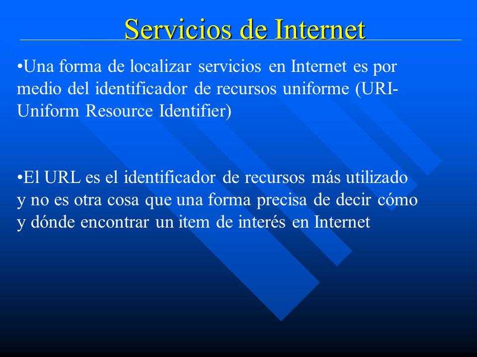 Servicios de Internet Una forma de localizar servicios en Internet es por medio del identificador de recursos uniforme (URI- Uniform Resource Identifier) El URL es el identificador de recursos más utilizado y no es otra cosa que una forma precisa de decir cómo y dónde encontrar un item de interés en Internet