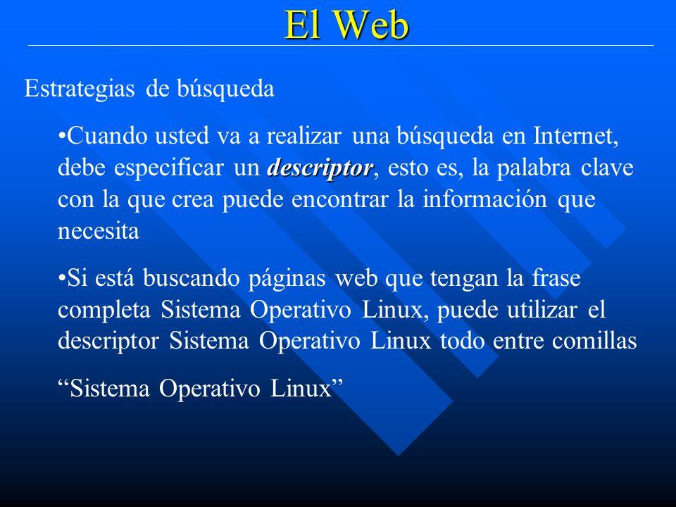 El Web Estrategias de búsqueda descriptorCuando usted va a realizar una búsqueda en Internet, debe especificar un descriptor, esto es, la palabra clave con la que crea puede encontrar la información que necesita Si está buscando páginas web que tengan la frase completa Sistema Operativo Linux, puede utilizar el descriptor Sistema Operativo Linux todo entre comillas Sistema Operativo Linux