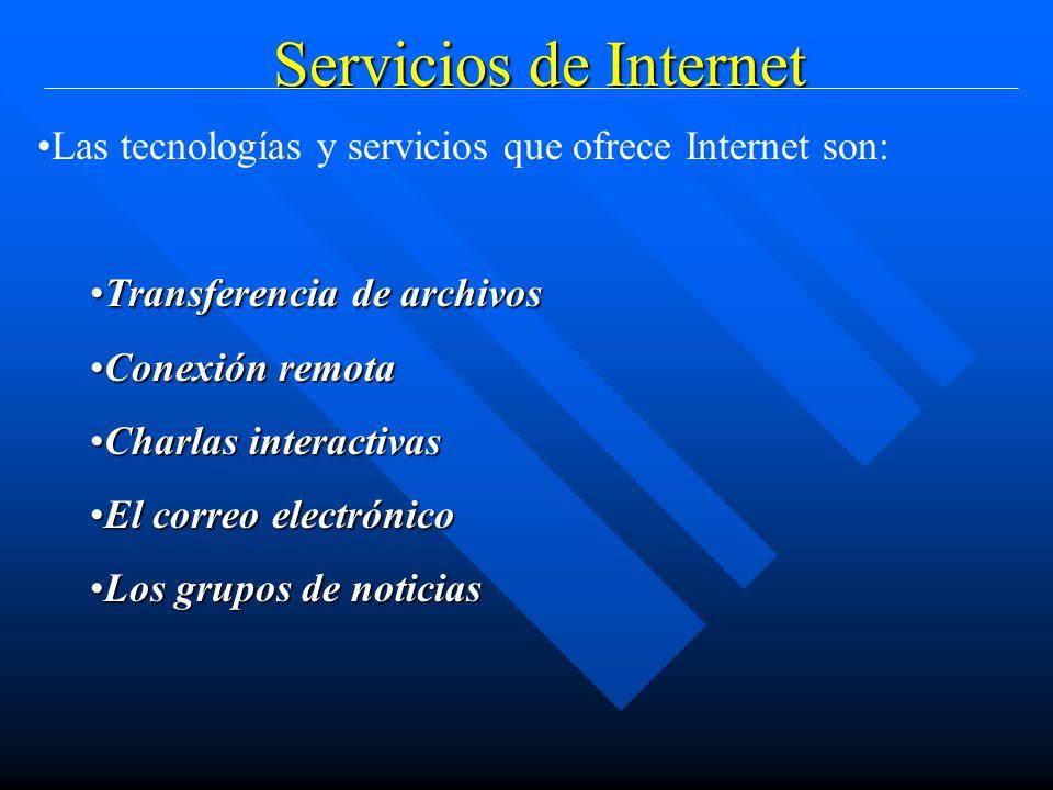 Servicios de Internet Las tecnologías y servicios que ofrece Internet son: Transferencia de archivosTransferencia de archivos Conexión remotaConexión remota Charlas interactivasCharlas interactivas El correo electrónicoEl correo electrónico Los grupos de noticiasLos grupos de noticias