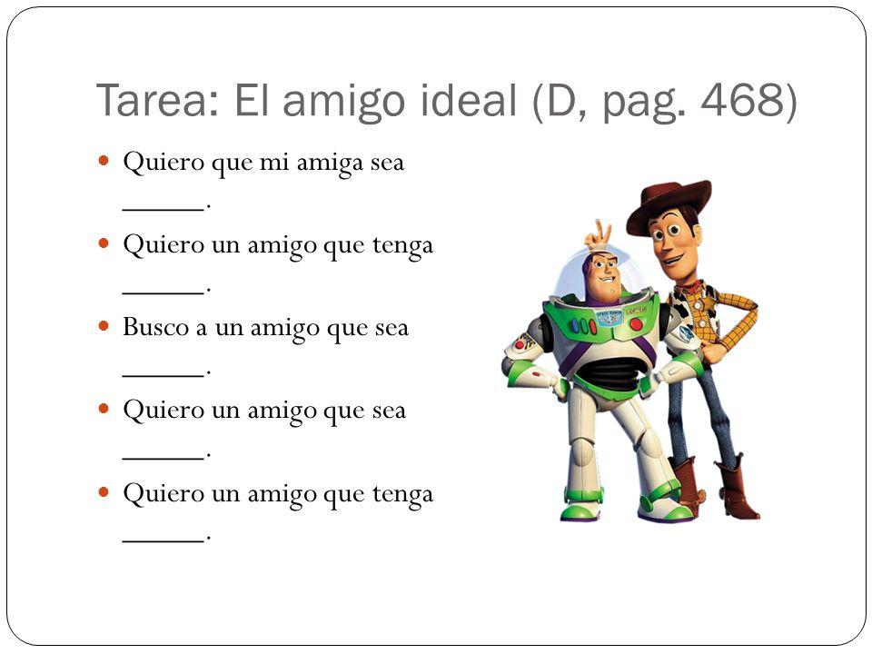 Tarea: El amigo ideal (D, pag. 468) Quiero que mi amiga sea _____.