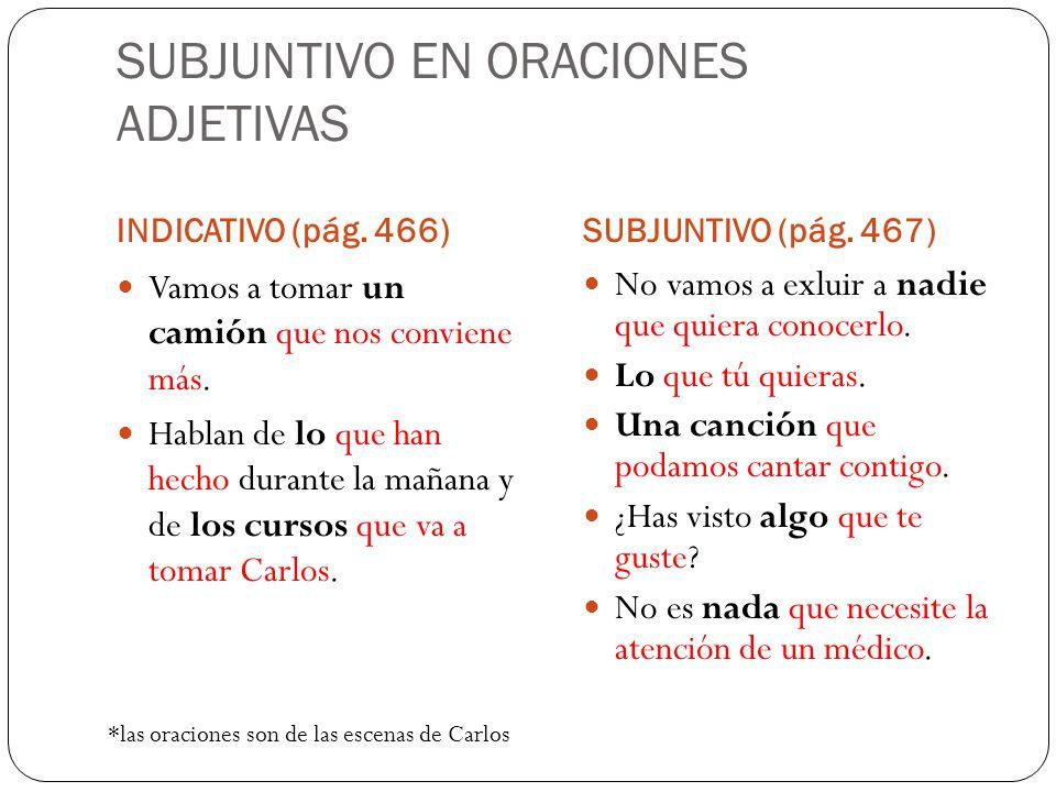 SUBJUNTIVO EN ORACIONES ADJETIVAS INDICATIVO (pág.