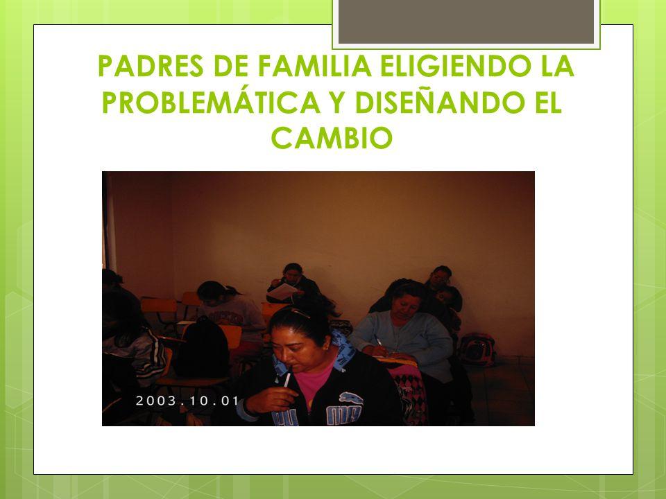 PADRES DE FAMILIA ELIGIENDO LA PROBLEMÁTICA Y DISEÑANDO EL CAMBIO