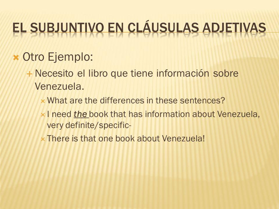  Otro Ejemplo:  Necesito el libro que tiene información sobre Venezuela.