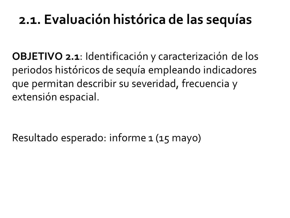 OBJETIVO 2.1: Identificación y caracterización de los periodos históricos de sequía empleando indicadores que permitan describir su severidad, frecuencia y extensión espacial.
