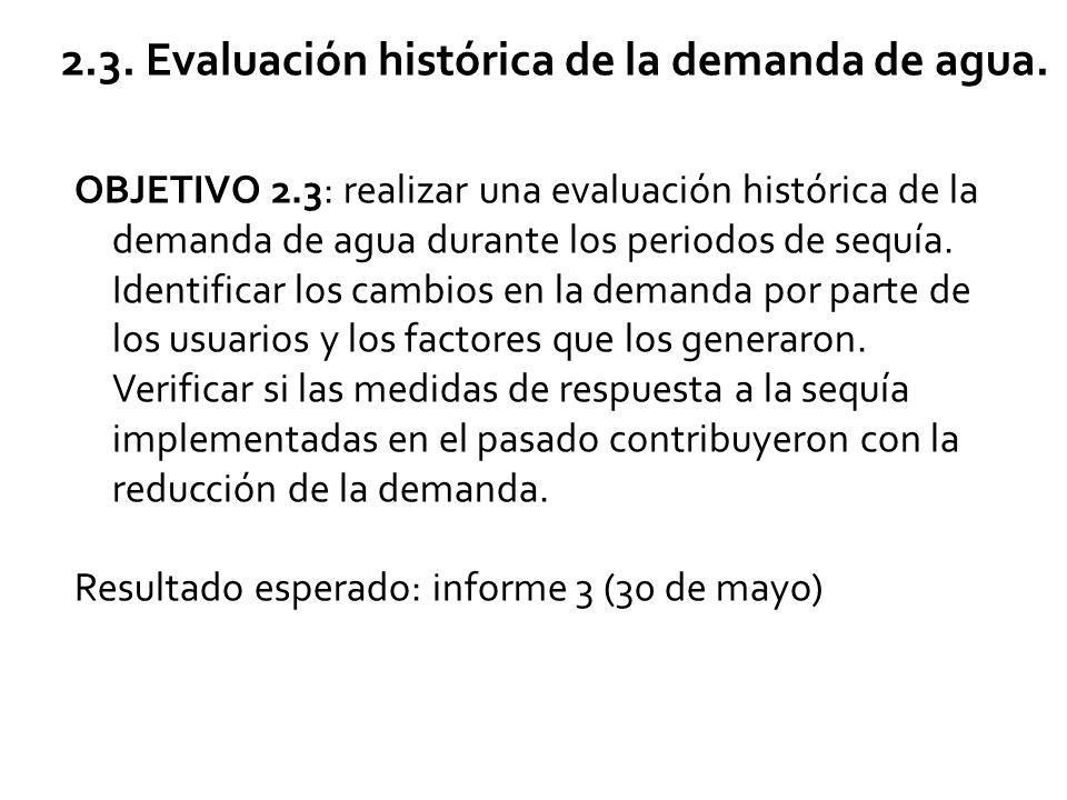 2.3. Evaluación histórica de la demanda de agua.