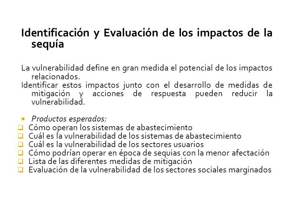 Identificación y Evaluación de los impactos de la sequía La vulnerabilidad define en gran medida el potencial de los impactos relacionados.