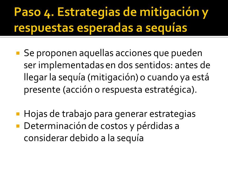  Se proponen aquellas acciones que pueden ser implementadas en dos sentidos: antes de llegar la sequía (mitigación) o cuando ya está presente (acción o respuesta estratégica).