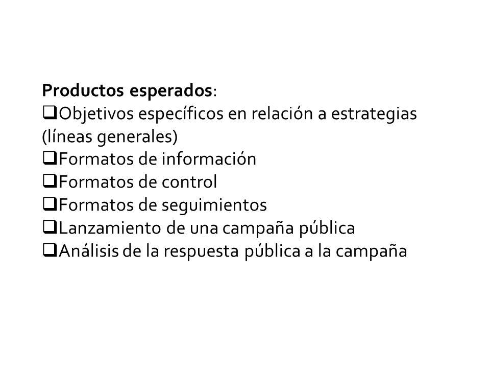 Productos esperados:  Objetivos específicos en relación a estrategias (líneas generales)  Formatos de información  Formatos de control  Formatos de seguimientos  Lanzamiento de una campaña pública  Análisis de la respuesta pública a la campaña