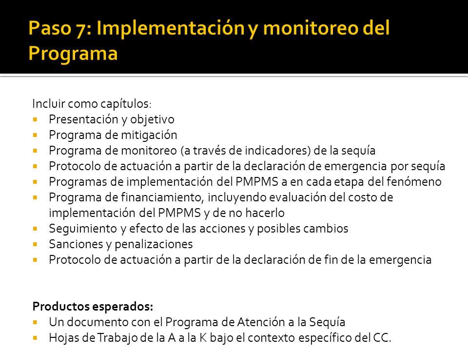 Incluir como capítulos:  Presentación y objetivo  Programa de mitigación  Programa de monitoreo (a través de indicadores) de la sequía  Protocolo de actuación a partir de la declaración de emergencia por sequía  Programas de implementación del PMPMS a en cada etapa del fenómeno  Programa de financiamiento, incluyendo evaluación del costo de implementación del PMPMS y de no hacerlo  Seguimiento y efecto de las acciones y posibles cambios  Sanciones y penalizaciones  Protocolo de actuación a partir de la declaración de fin de la emergencia Productos esperados:  Un documento con el Programa de Atención a la Sequía  Hojas de Trabajo de la A a la K bajo el contexto específico del CC.