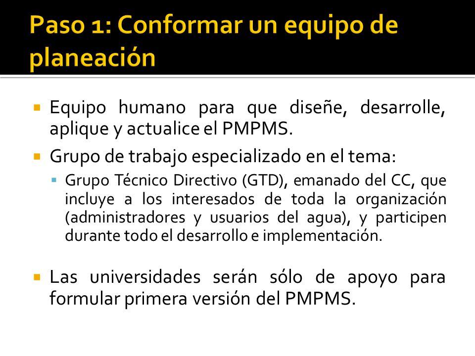  Equipo humano para que diseñe, desarrolle, aplique y actualice el PMPMS.
