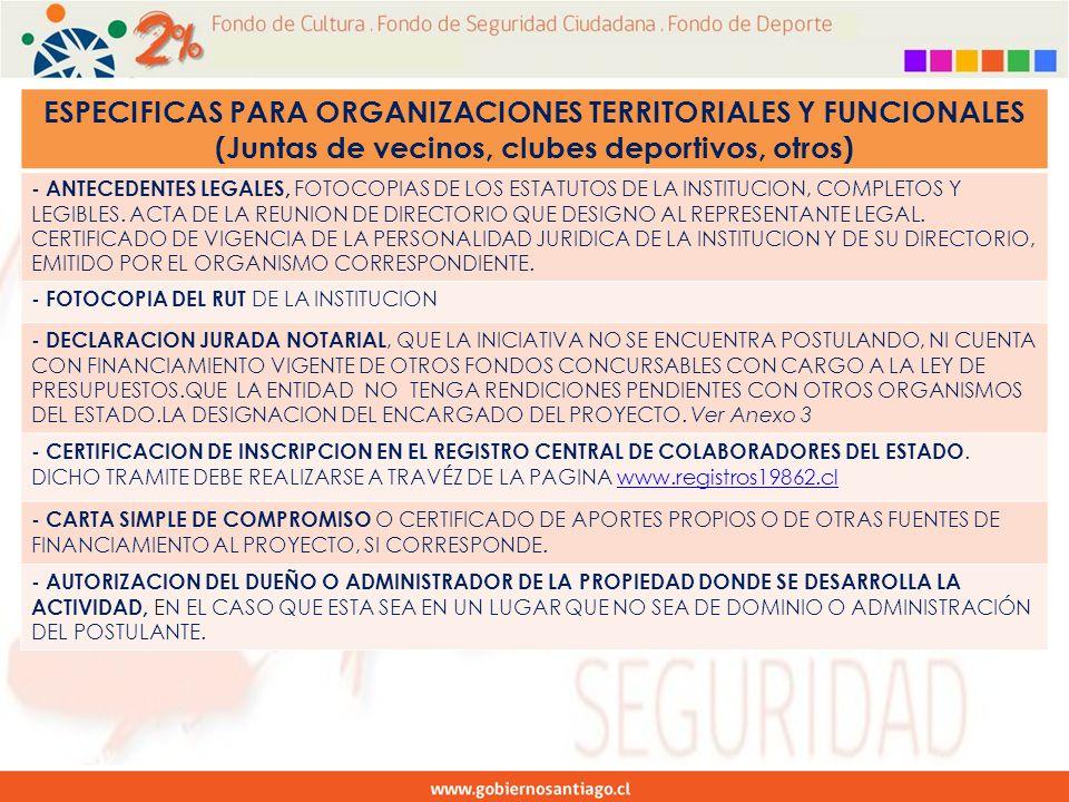 ESPECIFICAS PARA ORGANIZACIONES TERRITORIALES Y FUNCIONALES (Juntas de vecinos, clubes deportivos, otros) - ANTECEDENTES LEGALES, FOTOCOPIAS DE LOS ESTATUTOS DE LA INSTITUCION, COMPLETOS Y LEGIBLES.