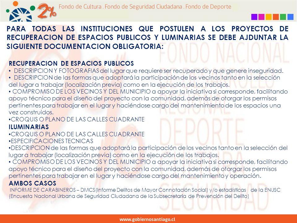 PARA TODAS LAS INSTITUCIONES QUE POSTULEN A LOS PROYECTOS DE RECUPERACION DE ESPACIOS PUBLICOS Y LUMINARIAS SE DEBE AJDUNTAR LA SIGUIENTE DOCUMENTACION OBLIGATORIA: RECUPERACION DE ESPACIOS PUBLICOS DESCRIPCION Y FOTOGRAFIAS del lugar que requiere ser recuperado y que genere inseguridad.