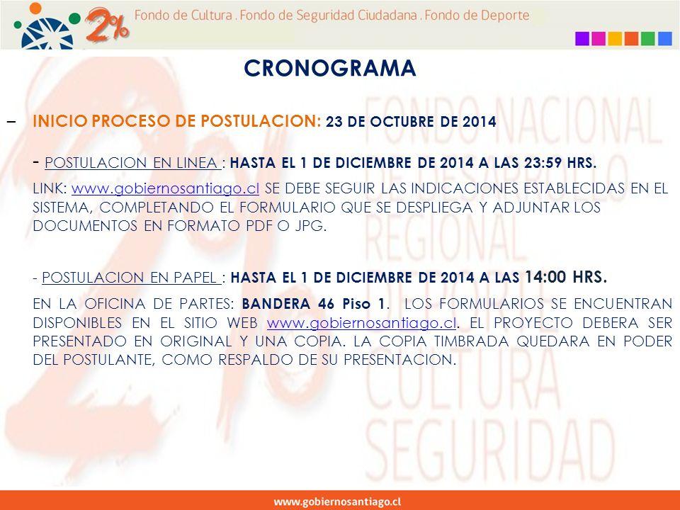CRONOGRAMA – INICIO PROCESO DE POSTULACION: 23 DE OCTUBRE DE 2014 - POSTULACION EN LINEA : HASTA EL 1 DE DICIEMBRE DE 2014 A LAS 23:59 HRS.