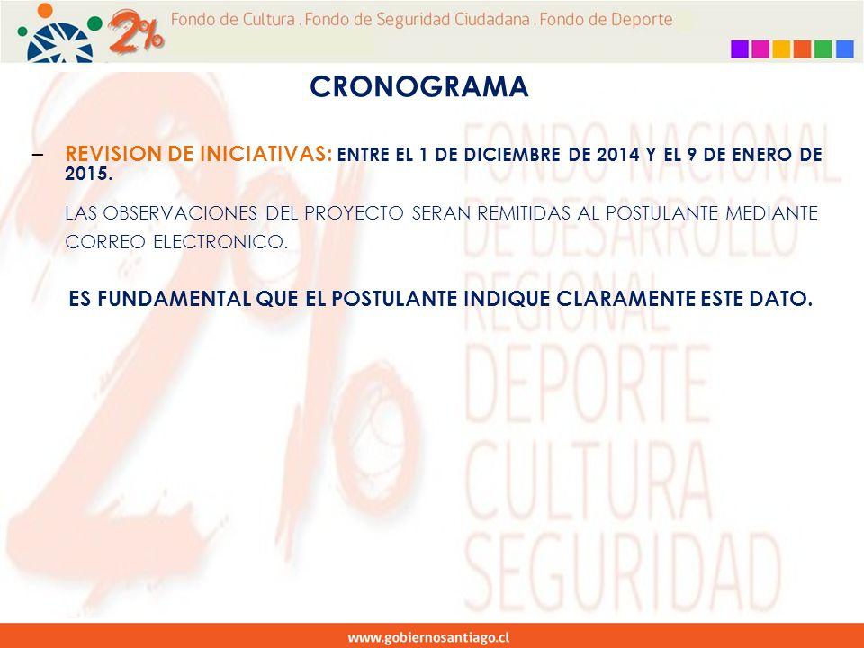 – REVISION DE INICIATIVAS: ENTRE EL 1 DE DICIEMBRE DE 2014 Y EL 9 DE ENERO DE 2015.