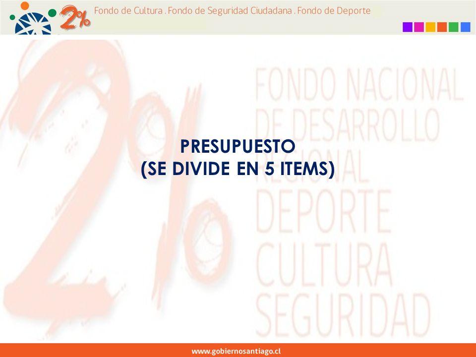 PRESUPUESTO (SE DIVIDE EN 5 ITEMS)