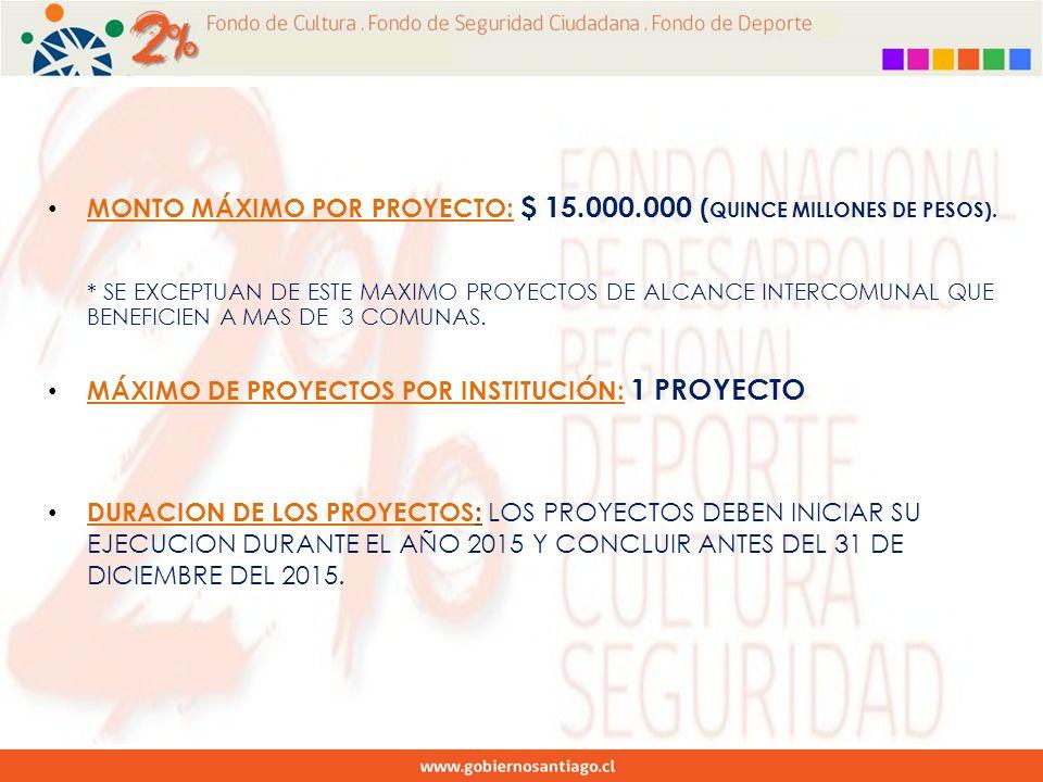 MONTO MÁXIMO POR PROYECTO: $ 15.000.000 ( QUINCE MILLONES DE PESOS).