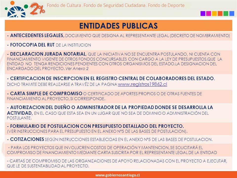 ENTIDADES PUBLICAS - ANTECEDENTES LEGALES, DOCUMENTO QUE DESIGNA AL REPRESENTANTE LEGAL (DECRETO DE NOMBRAMIENTO) - FOTOCOPIA DEL RUT DE LA INSTITUCION - DECLARACION JURADA NOTARIAL, QUE LA INICIATIVA NO SE ENCUENTRA POSTULANDO, NI CUENTA CON FINANCIAMIENTO VIGENTE DE OTROS FONDOS CONCURSABLES CON CARGO A LA LEY DE PRESUPUESTOS.QUE LA ENTIDAD NO TENGA RENDICIONES PENDIENTES CON OTROS ORGANISMOS DEL ESTADO.LA DESIGNACION DEL ENCARGADO DEL PROYECTO.