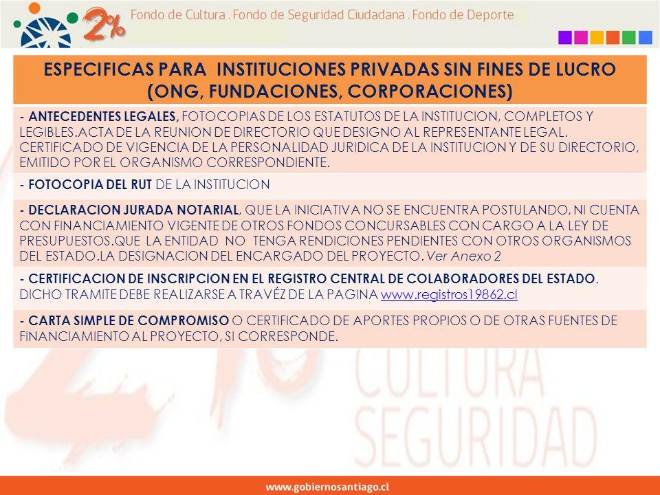 ESPECIFICAS PARA INSTITUCIONES PRIVADAS SIN FINES DE LUCRO (ONG, FUNDACIONES, CORPORACIONES) - ANTECEDENTES LEGALES, FOTOCOPIAS DE LOS ESTATUTOS DE LA INSTITUCION, COMPLETOS Y LEGIBLES.ACTA DE LA REUNION DE DIRECTORIO QUE DESIGNO AL REPRESENTANTE LEGAL.