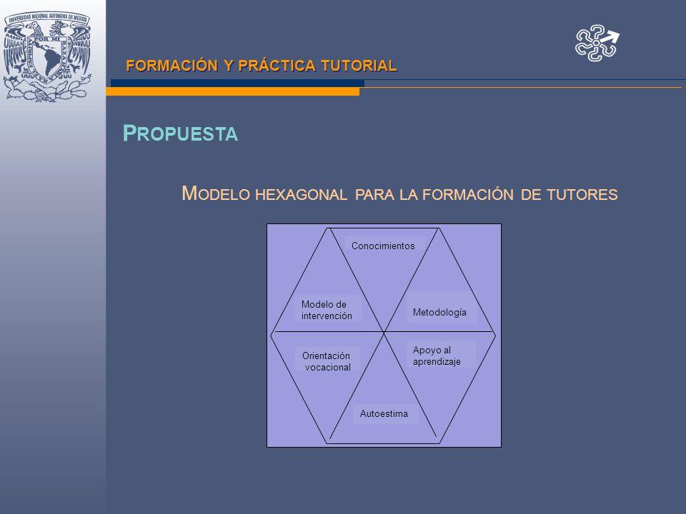 FORMACIÓN Y PRÁCTICA TUTORIAL Conocimientos Modelo de intervención Metodología Orientación vocacional Autoestima Apoyo al aprendizaje M ODELO HEXAGONAL PARA LA FORMACIÓN DE TUTORES P ROPUESTA