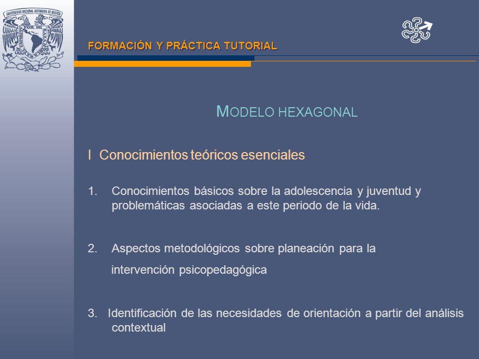 FORMACIÓN Y PRÁCTICA TUTORIAL M ODELO HEXAGONAL I Conocimientos teóricos esenciales 1.Conocimientos básicos sobre la adolescencia y juventud y problemáticas asociadas a este periodo de la vida.