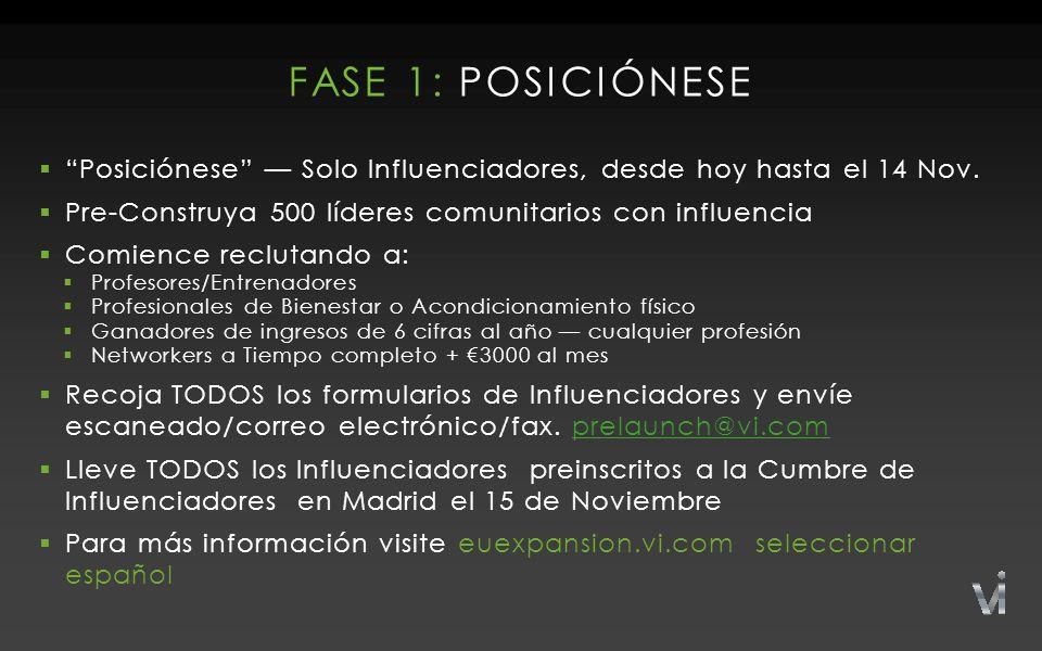 FASE 1: POSICIÓNESE  Posiciónese — Solo Influenciadores, desde hoy hasta el 14 Nov.