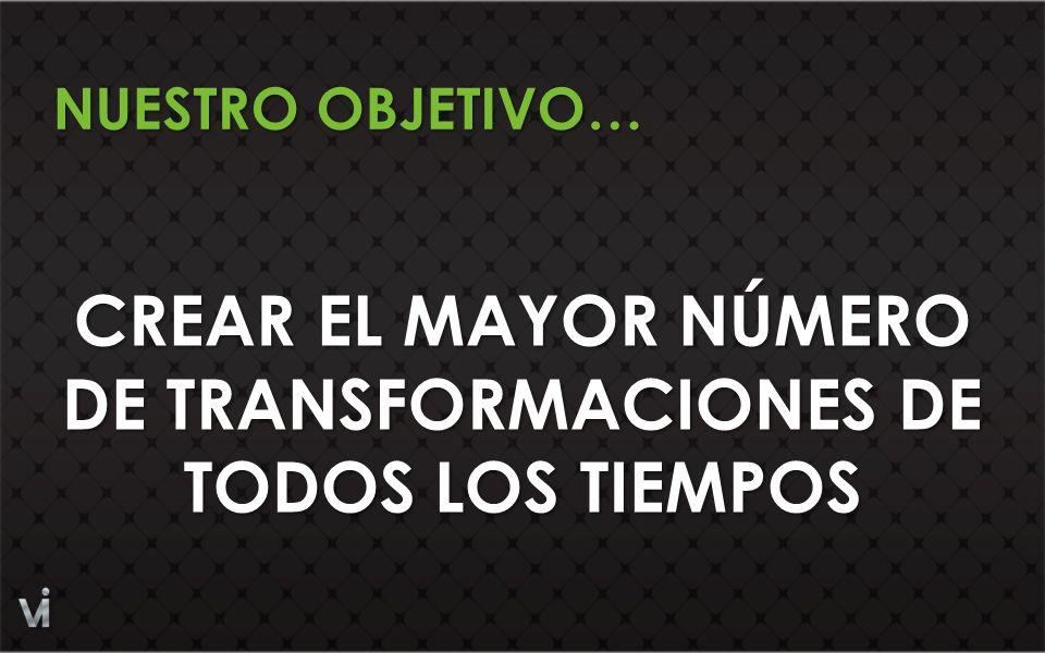 CREAR EL MAYOR NÚMERO DE TRANSFORMACIONES DE TODOS LOS TIEMPOS NUESTRO OBJETIVO…