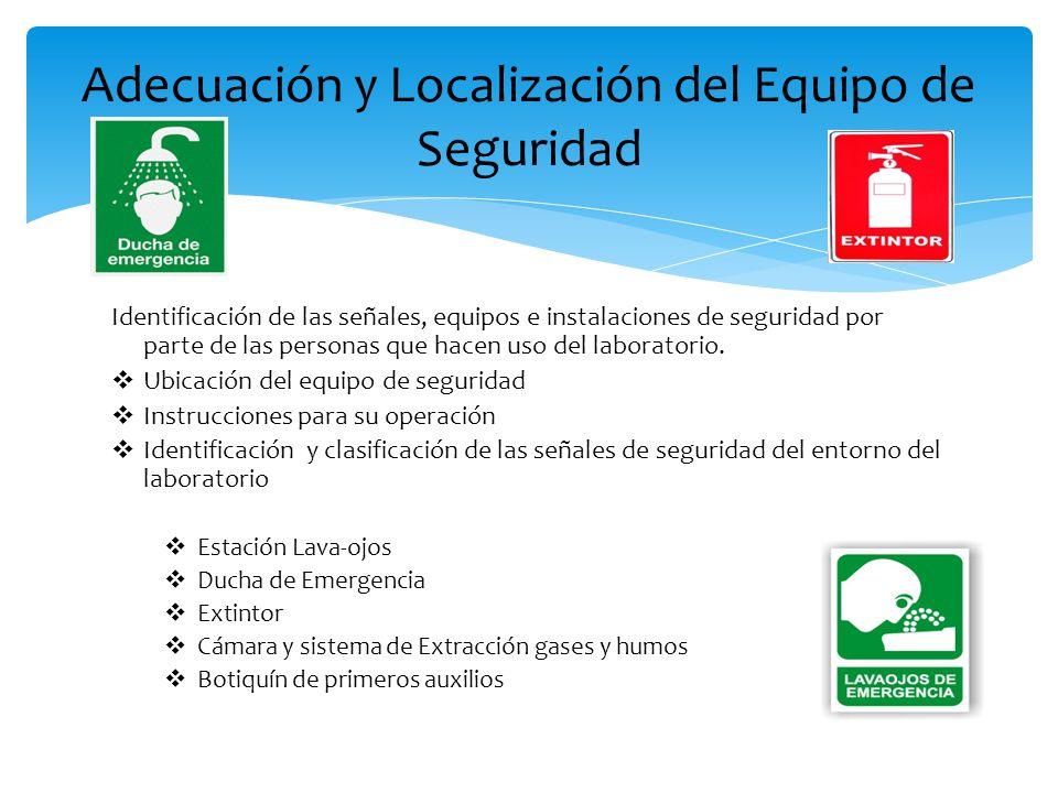 Identificación de las señales, equipos e instalaciones de seguridad por parte de las personas que hacen uso del laboratorio.  Ubicación del equipo de