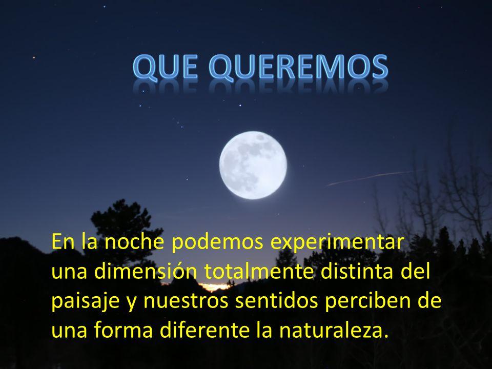 En la noche podemos experimentar una dimensión totalmente distinta del paisaje y nuestros sentidos perciben de una forma diferente la naturaleza.