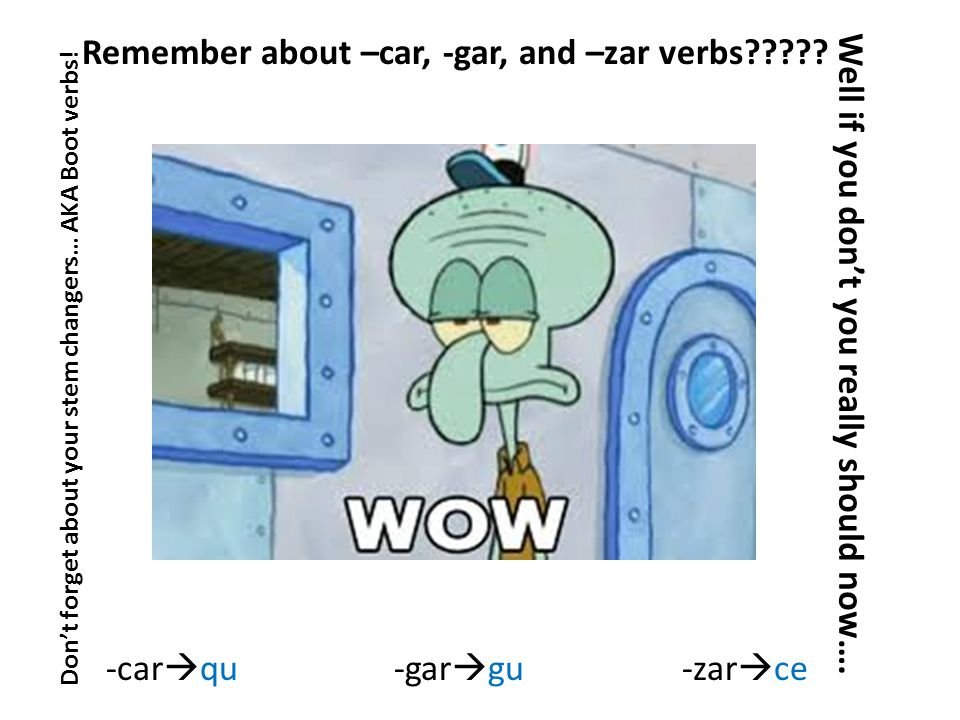 Remember about –car, -gar, and –zar verbs . Well if you don't you really should now….