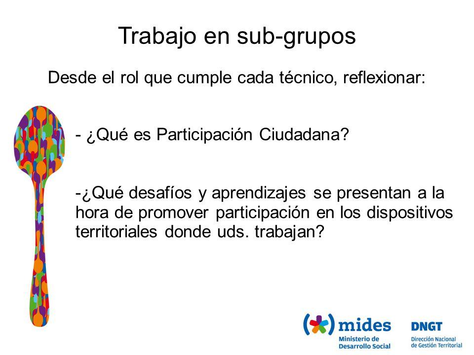 Trabajo en sub-grupos Desde el rol que cumple cada técnico, reflexionar: - ¿Qué es Participación Ciudadana.