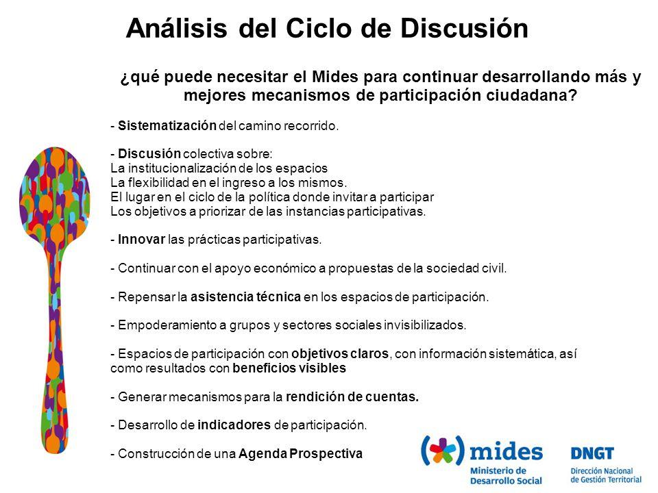 Análisis del Ciclo de Discusión ¿qué puede necesitar el Mides para continuar desarrollando más y mejores mecanismos de participación ciudadana.