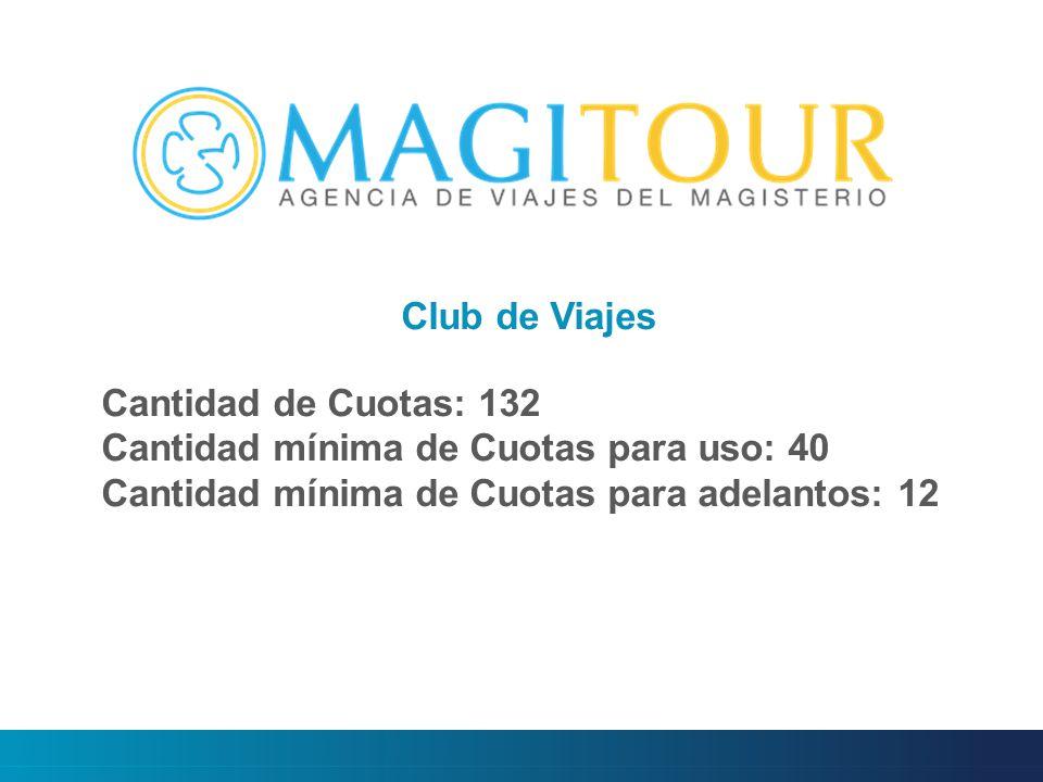 Cantidad de Cuotas: 132 Cantidad mínima de Cuotas para uso: 40 Cantidad mínima de Cuotas para adelantos: 12