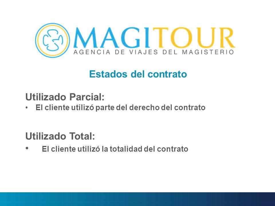 Estados del contrato Utilizado Parcial: El cliente utilizó parte del derecho del contrato Utilizado Total: El cliente utilizó la totalidad del contrato