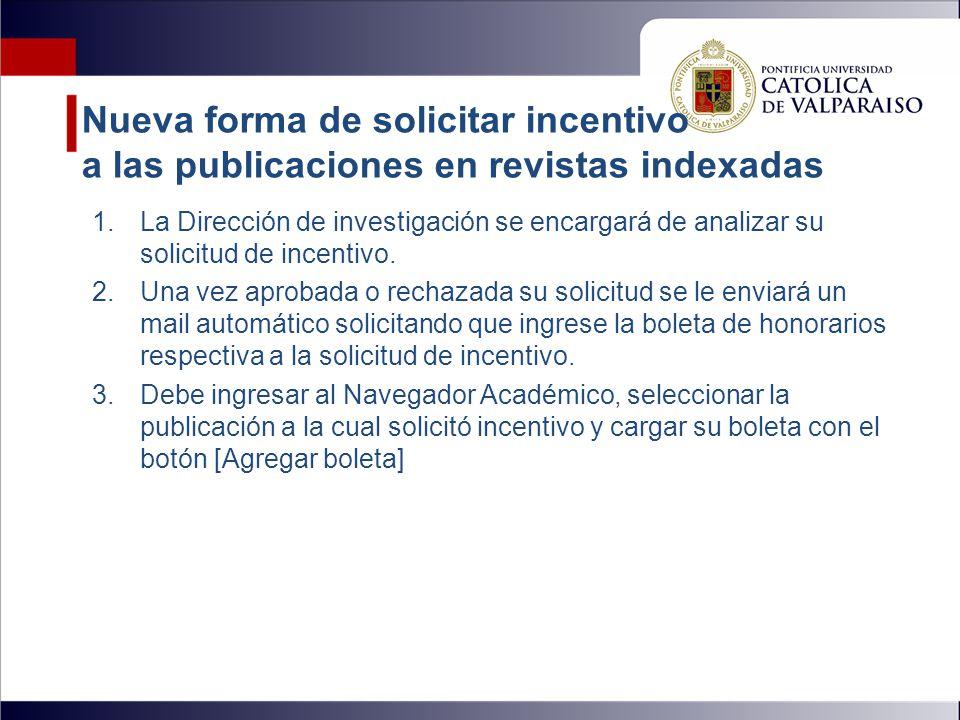 Nueva forma de solicitar incentivo a las publicaciones en revistas indexadas 1.La Dirección de investigación se encargará de analizar su solicitud de incentivo.