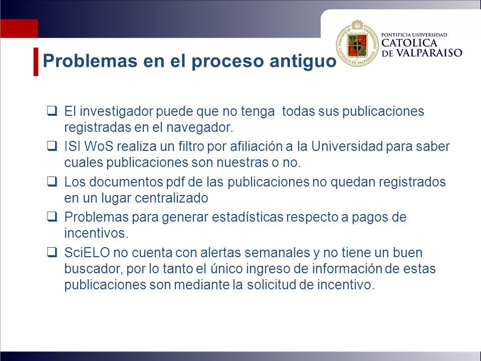 Problemas en el proceso antiguo  El investigador puede que no tenga todas sus publicaciones registradas en el navegador.