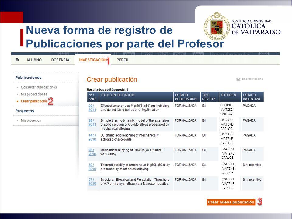 Nueva forma de registro de Publicaciones por parte del Profesor OSORIO MATZKE CARLOS