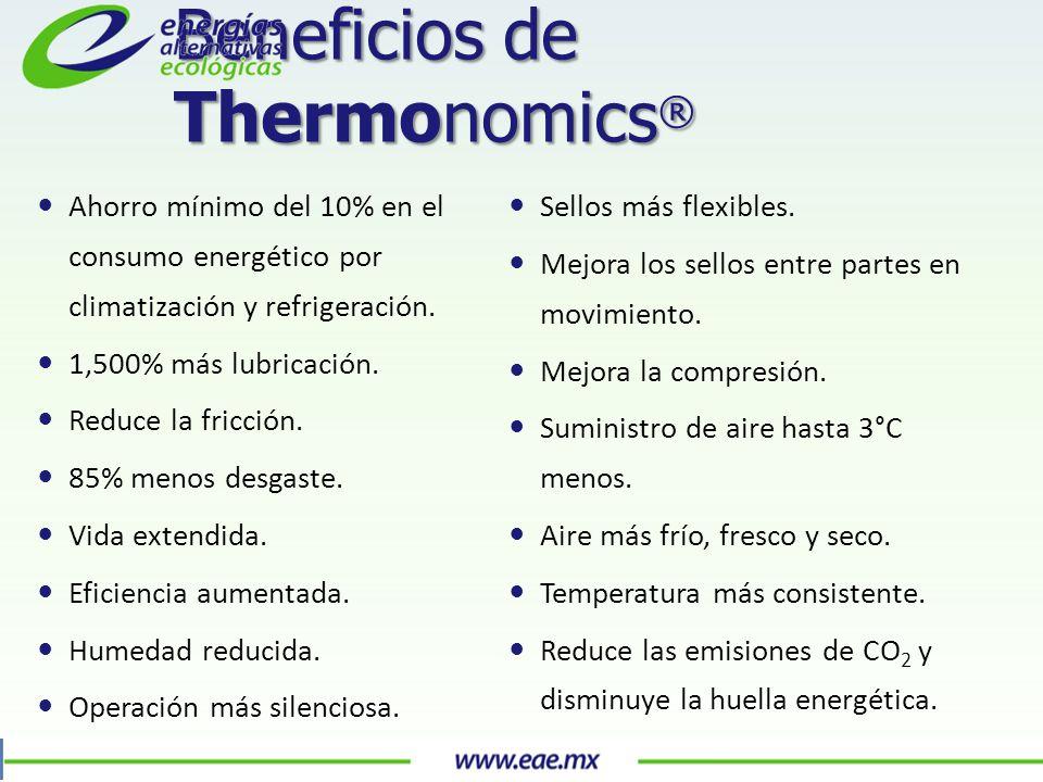 Beneficios de Thermonomics ® Ahorro mínimo del 10% en el consumo energético por climatización y refrigeración.