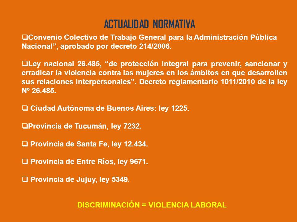 ACTUALIDAD NORMATIVA  Convenio Colectivo de Trabajo General para la Administración Pública Nacional , aprobado por decreto 214/2006.