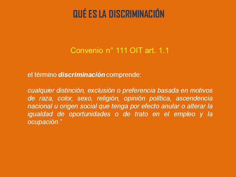 QUÉ ES LA DISCRIMINACIÓN Convenio n° 111 OIT art.
