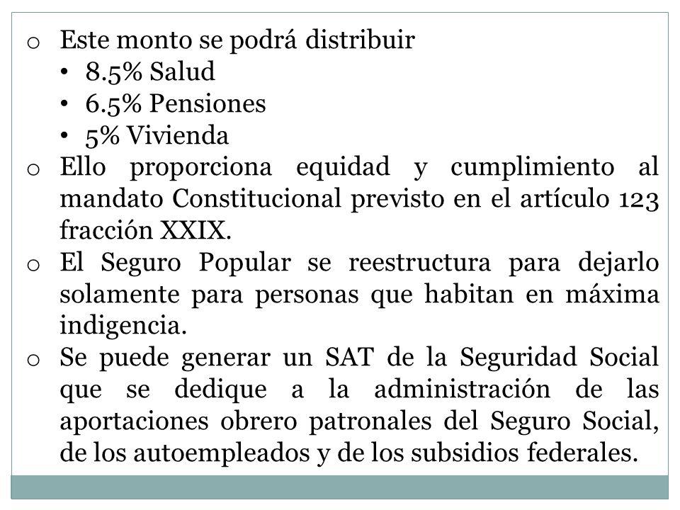 o Este monto se podrá distribuir 8.5% Salud 6.5% Pensiones 5% Vivienda o Ello proporciona equidad y cumplimiento al mandato Constitucional previsto en el artículo 123 fracción XXIX.