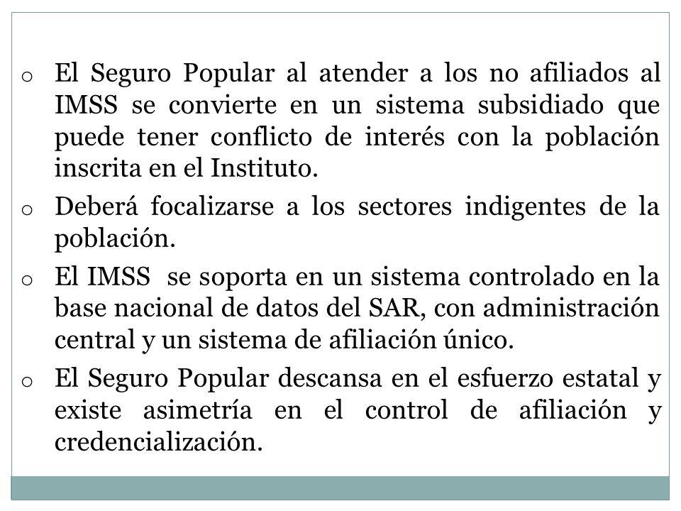 o El Seguro Popular al atender a los no afiliados al IMSS se convierte en un sistema subsidiado que puede tener conflicto de interés con la población inscrita en el Instituto.