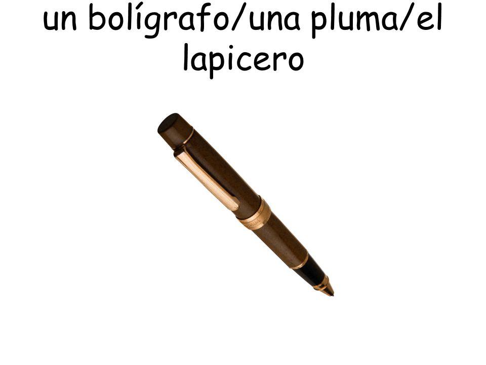 un bolígrafo/una pluma/el lapicero